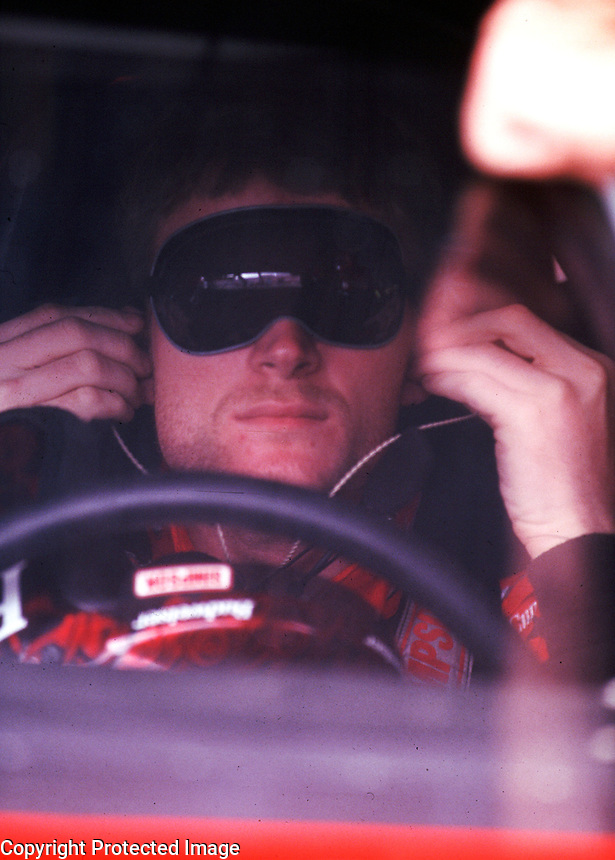 Dale Earnhardt Jr. prepares for a practice session at Darlington i nMarch 2000. (Photo by Brian Cleary)