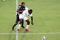 CARY, NC - AUGUST 01: Neco Brett #11 shields Pecka #7 off of the ball during a game between Birmingham Legion FC and North Carolina FC at Sahlen's Stadium at WakeMed Soccer Park on August 01, 2020 in Cary, North Carolina.