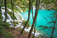 Plitvice Lakes National Park in Croatia is known for its colorful green and blue waters and many waterfalls. Limestone walls are responsible for both.