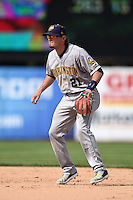 Burlington Bees second baseman Kody Eaves (21) during a game against the Kane County Cougars on August 20, 2014 at Third Bank Ballpark in Geneva, Illinois.  Kane County defeated Burlington 7-3.  (Mike Janes/Four Seam Images)