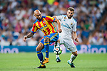 Simone Zaza (l) of Valencia CF fights for the ball with Nacho Fernandez of Real Madrid during their La Liga 2017-18 match between Real Madrid and Valencia CF at the Estadio Santiago Bernabeu on 27 August 2017 in Madrid, Spain. Photo by Diego Gonzalez / Power Sport Images
