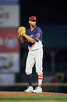 Rochester Red Wings relief pitcher Nick Anderson (38) gets ready to deliver a pitch during a game against the Pawtucket Red Sox on July 4, 2018 at Frontier Field in Rochester, New York.  Pawtucket defeated Rochester 6-5.  (Mike Janes/Four Seam Images)