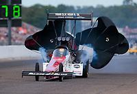 Aug 18, 2019; Brainerd, MN, USA; NHRA top fuel driver Clay Millican during the Lucas Oil Nationals at Brainerd International Raceway. Mandatory Credit: Mark J. Rebilas-USA TODAY Sports
