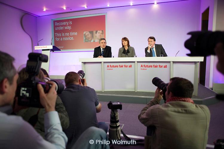 Gordon Brown, Harriet Harman, Peter Mandelson, Labour Party election campaign press conference, London.