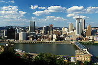 Pittsburgh, skyline, PA, Pennsylvania, Aerial view of the downtown skyline of Pittsburgh and Smithfield Street Bridge (truss-type bridge) crossing the Monongahela River.