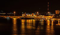 Fine Art Landscape Photograph of the night lights of the ships in the ocean port of Piraeus Greece,