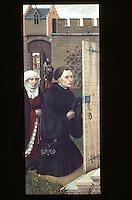 Paintings:  Robert Campin --Merode Altarpiece, Donors (L. Wing) , c. 1425. Panel.  Flemish Master.  Met. Museum of Art, Cloisters.