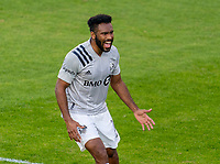 WASHINGTON, DC - NOVEMBER 8: Anthony Jackson-Harnel #11 of the Montreal Impact celebrates a goal during a game between Montreal Impact and D.C. United at Audi Field on November 8, 2020 in Washington, DC.