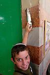 Judea, Hebron Mountain. A Mezuzah at the Cave of Machpelah in Hebron