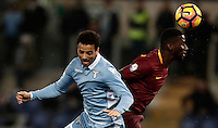 Calcio, Serie A: Roma, stadio Olimpico, 1marzo 2017.<br /> Roma's Antonio Rudiger (r) in action with Felipe Anderson (l) during the Italian TIM Cup 1st leg semifinal football match between Lazio and AS Roma at Rome's Olympic stadium, on March 1, 2017.<br /> UPDATE IMAGES PRESS/Isabella Bonotto