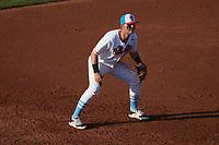 Burlington Sock Puppets third baseman Caleb Farmer (15) (Colorado Mesa) on defense against the Danville Otterbots at Burlington Athletic Park on June 5, 2021 in Burlington, North Carolina. (Brian Westerholt/Four Seam Images)