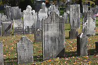Grave markers in the Old First Church cemetery in Bennington, Vermont