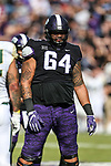 TCU Horned Frogs guard Matt Pryor (64) in action during the game between the Baylor Bears and the TCU Horned Frogs at the Amon G. Carter Stadium in Fort Worth, Texas.