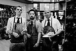 vlnr: Adam Law, Yohei Iwasaki, Teemu-Pekka Leppanen<br /> Schuhe von George Cleverley <br /> <br /> Engl.: Europe, England, Great Britain, London, shoes handmade by George Cleverly, handicraft, tradition, shoemaker, employees Adam Law, Yohei Iwasaki, Teemu-Pekka Leppanen, June 2013