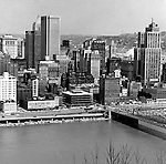 Pittsburgh PA:  View Pittsburgh, Fort Pitt Boulevard, William Penn Place, Grant Building, and Smithfield Street Bridge.  1 Smithfield Street is under construction.