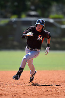 Miami Marlins Ryan Aper (6) during a minor league spring training game against the St. Louis Cardinals on March 31, 2015 at the Roger Dean Complex in Jupiter, Florida.  (Mike Janes/Four Seam Images)