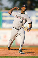 Starting pitcher Euris Quezada #38 of the Greeneville Astros in action against the Burlington Royals at Burlington Athletic Stadium June22, 2010, in Burlington, North Carolina.  Photo by Brian Westerholt / Four Seam Images