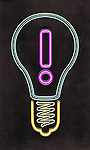 Illustration of bulb with exclamation mark over black background