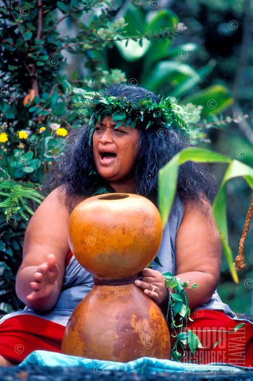 Kumu hula chanting with an ipu heke     ( gourd ) at a Hawaiian ceremony, Kilauea Volcano, Big Island of Hawaii