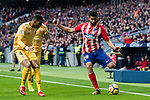 Diego Costa (R) of Atletico de Madrid competes for the ball with Francisco Aday Benitez (C) and Jonas Ramalho Chimeno of Girona FC during the La Liga 2017-18 match between Atletico de Madrid and Girona FC at Wanda Metropolitano on 20 January 2018 in Madrid, Spain. Photo by Diego Gonzalez / Power Sport Images