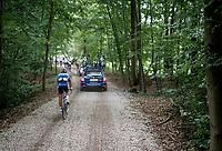 Anthony Turgis (FRA/Total - Direct Energie) stuck behind<br /> <br /> Dwars door het Hageland 2019 (1.1)<br /> 1 day race from Aarschot to Diest (BEL/204km)<br /> <br /> ©kramon