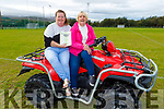 Pamela Roche and Geraldine O'Brien with a different mode of transport at the Drive in Bingo in John Mitchels on Sunday