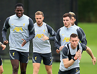 14th September 2021: The  AXA Training Centre, Kirkby, Knowsley, Merseyside, England: Liverpool FC training ahead of Champions League game versus AC Milan on 15th September: Ibrahima Konate of Liverpool warms up with his team mates