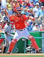 16 June 2012: Washington Nationals catcher Jesus Flores in action against the New York Yankees at Nationals Park in Washington, DC. The Yankees defeated the Nationals in 14 innings by a score of 5-3, taking the second game of their 3-game series. Mandatory Credit: Ed Wolfstein Photo