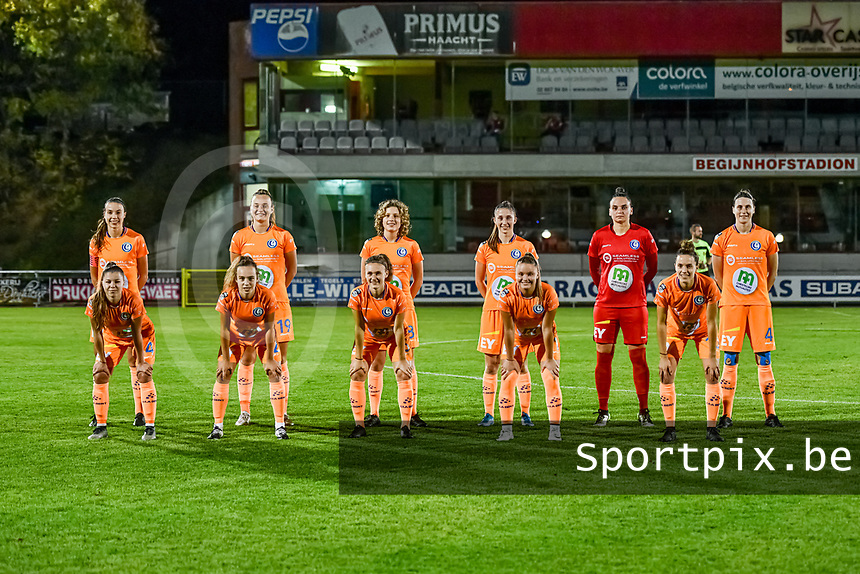 Team picture K.A.A. Gent ( defender Silke Vanwynsberghe (21) , forward Lobke Loonen (19) , midfielder Fleur Van Daele (8) , defender Fran Meersman (5) , goalkeeper Nicky Evrard (1) , defender Heleen Jacques (4) and defender Lindsey Van Belle (14) , forward Jasmien Mathys (12) , midfielder Emma Van Britsom (6) , forward Imani Prez (11) , midfielder Chloe Vande Velde (10) ) pictured during a female soccer game between RSC Anderlecht Dames and AA Gent Ladies on the seventh matchday of the 2020 - 2021 season of Belgian Womens Super League , friday 13 th of November 2020  in Overijse , Belgium . PHOTO SPORTPIX.BE | SPP | STIJN AUDOOREN