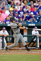 Vanderbilt Commodores second baseman Tyler Campbell (2) swings the bat during the NCAA College baseball World Series against the TCU Horned Frogs on June 16, 2015 at TD Ameritrade Park in Omaha, Nebraska. Vanderbilt defeated TCU 1-0. (Andrew Woolley/Four Seam Images)