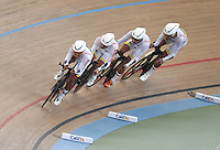 CALI – COLOMBIA – 26-02-2014: Juan Carvajal, Edwin Avila, Arles Castro y Fernando Gaviria equipo de Colombia durante competencia de Persecucion por Equipos masculino en el Velodromo Alcides Nieto Patiño, sede del Campeonato Mundial UCI de Ciclismo Pista 2014. / Juan Carvajal, Edwin Avila, Arles Castro and Fernando Gaviria of the Colombia team during the test of the Men´s Team Persuit at the Alcides Nieto Patiño Velodrome, home of the 2014 UCI Track Cycling World Championships. Photos: VizzorImage / Luis Ramirez / Staff.