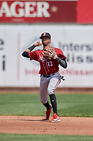 Altoona Curve shortstop Alfredo Reyes (13) throws to first base during an Eastern League game against the Erie SeaWolves and on June 4, 2019 at UPMC Park in Erie, Pennsylvania.  Altoona defeated Erie 3-0.  (Mike Janes/Four Seam Images)