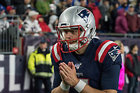 FOXBORO, MA - OCTOBER 10: New England Patriots Jake Bailey Punter (7) warming on the sideline during a game between New York Giants and New England Patriots at Gillettes on October 10, 2019 in Foxboro, Massachusetts.