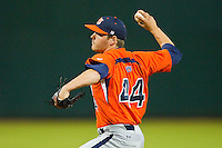 Starting pitcher Will Irvin #44 of the Auburn Tigers in action against the Alabama Crimson Tide at Riverwalk Park on March 15, 2011 in Montgomery, Alabama.  Photo by Brian Westerholt / Four Seam Images