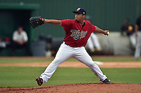 Elizabethton Twins starting pitcher Josue Montanez #39 delivers  pitch during a game against the  Bristol Pirates at Joe O'Brien Field June 30, 2014 in Elizabethton, Tennessee. The Twins defeated the Pirates 8-5 in game one of a double header. (Tony Farlow/Four Seam Images)