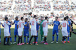 Getafe´s players greet Sevilla´s players during 2014-15 La Liga match at Alfonso Perez Coliseum stadium in Getafe, Spain. February 08, 2015. (ALTERPHOTOS/Victor Blanco)