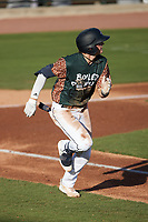 Nick Schnell (7) of the Charleston Boiled Peanuts \hustles\ Augusta GreenJackets at Joseph P. Riley, Jr. Park on June 26, 2021 in Charleston, South Carolina. (Brian Westerholt/Four Seam Images)