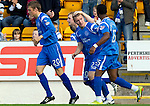 St Johnstone v St Mirren...11.09.10  .Andy Jackson celebrates his goal with Liam Craig and Jennison Myrie-Williams.Picture by Graeme Hart..Copyright Perthshire Picture Agency.Tel: 01738 623350  Mobile: 07990 594431