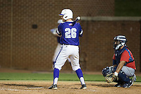 Spencer Brown (26) of the High Point Panthers at bat against the NJIT Highlanders during game two of a double-header at Williard Stadium on February 18, 2017 in High Point, North Carolina.  The Highlanders defeated the Panthers 4-2.  (Brian Westerholt/Four Seam Images)