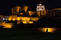 Peru, Cusco.  Santo Domingo Monastery, Built on and around Remains of Qorikancha, Inca Temple of the Sun, Night Shot.