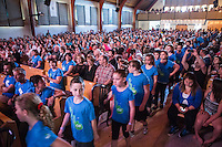 Vincent Valliere and 300 schoolchildren from La Ppetite Ecole attend the  Festival en Chanson of Petite-Vallee in Gaspesia on June 27, 2014<br /> <br /> Photo : Agence Quebec Presse  - Frederic Seguin