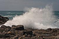 Waves crashing on the rocks at the north coast of the island of Tresco, Isles of Scilly, Cornwall, UK.  09/05/10