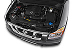Car Stock 2014 Nissan Titan PRO 4-X King Cab 2WD 2 Door Truck Engine high angle detail view