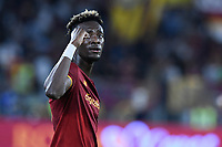 23rd September 2021;  Stadio Olimpicom, Roma, Italy; Serie A League Football, Roma versus Udinese; Tammy Abraham of Roma celebrates after scoring the goal for 1-0
