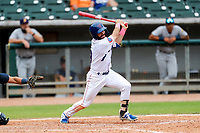 Tennessee Smokies center fielder Connor Myers (9) at bat against the Montgomery Biscuits on May 9, 2021, at Smokies Stadium in Kodak, Tennessee. (Danny Parker/Four Seam Images)