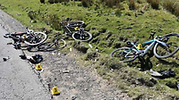 Pictured: The bicycles strewn next to the road after Jason Morgan crashed into the cyclists<br /> Re: Jason Morgan, who ploughed head-on into four cyclists at 60mph has been jailed for two years and eight months by Cardiff Crown Court, Wales, UK.<br /> Morgan, 48, from Treharris, who had taken amphetamine, hit the riders with his Vauxhall Corsa on a mountain road in Bargoed in April.<br /> He admitted drug driving, dangerous driving, and two counts of causing serious injury by dangerous driving.<br /> One of the cyclists suffered life-changing injuries.<br /> Photographs of the bikes crumpled and broken, one missing a wheel and parts spread around, were shown at Cardiff Crown Court.