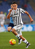Calcio, Serie A: Lazio vs Juventus. Roma, stadio Olimpico, 4 dicembre 2015.<br /> Juventus' Paulo Dybala in action during the Italian Serie A football match between Lazio and Juventus at Rome's Olympic stadium, 4 December 2015.<br /> UPDATE IMAGES PRESS/Riccardo De Luca