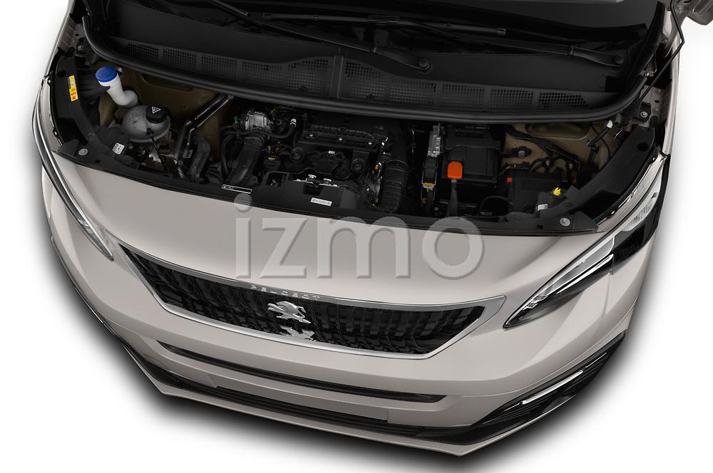 Car stock 2018 Peugeot Traveller Business 4 Door Mini Van engine high angle detail view
