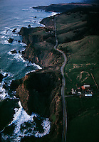 Northern California's coast highway near Mendocino passes through farmland and sheer cliffs overlooking the Pacific Ocean.