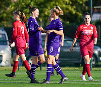 Anderlecht's Elke Van Gorp (7) and Anderlecht's Sarah Wijnants (11) celebrate the goal during a female soccer game between the women teams of Zulte Waregem B Dames and RSC Anderlecht Ladies on the 1/16 th qualifying round for the Belgian Womens Cup 2020  2021 , on saturday 26 th of September 2020  in Zulte , Belgium . PHOTO SPORTPIX.BE | SPP | SEVIL OKTEM